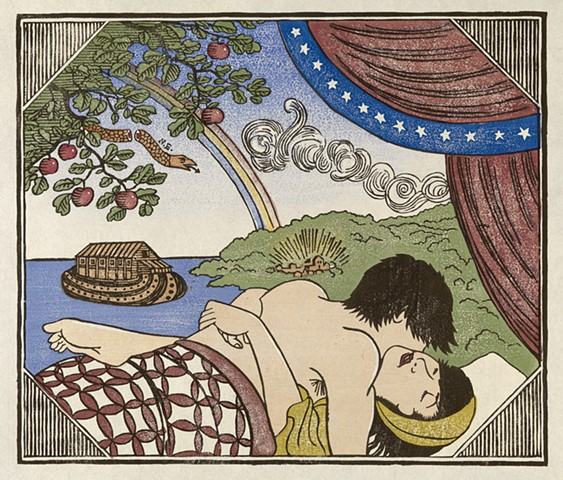 Moku hanga woodblock print of a couple making love and Bible story allegories in background by Annie Bissett