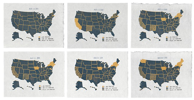 A series of maps showing the states that allow gay marriage, 2004-2012
