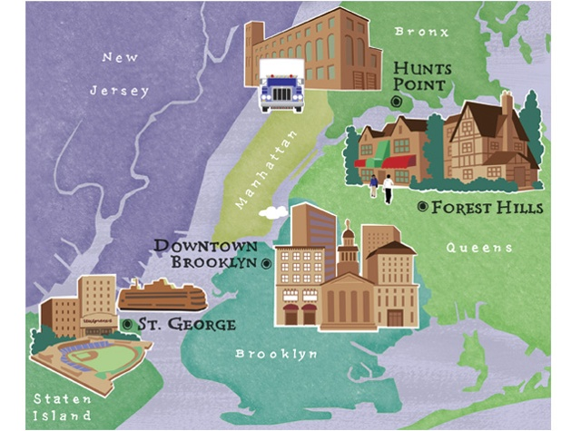 illustrated map of greater NY City with some buildings by Annie Bissett