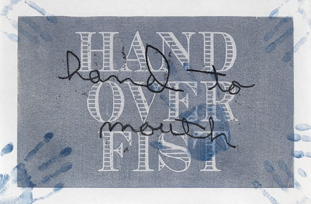 Moku hanga woodblock print by Annie Bissett about money cliches hand to mouth hand over fist
