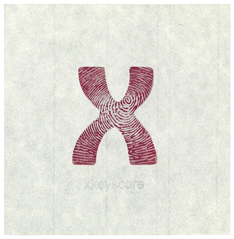 Woodblock print by Annie Bissett depicting an X with a fingerprint inside