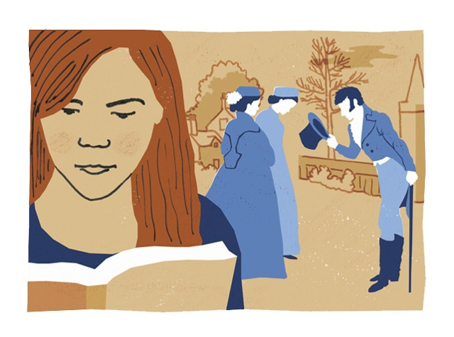 illustration showing a female college student reading a book, with a scene from Wuthering Heights behind her.