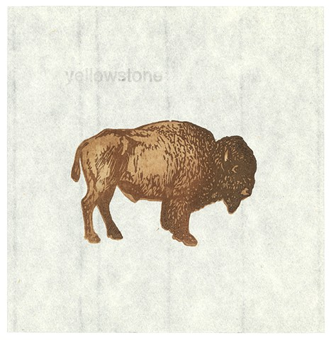 Woodblock print by Annie Bissett depicting a buffalo / bison