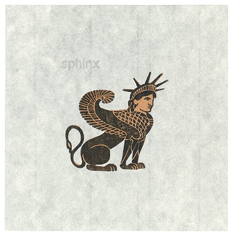 Woodblock print by Annie Bissett depicting a Greek style sphinx with the head of Lady Liberty