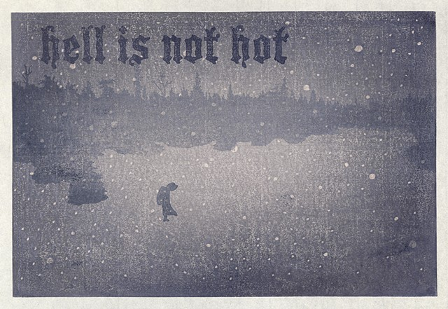 Moku hanga woodblock print by Annie Bissett showing a small figure walking in snow scene