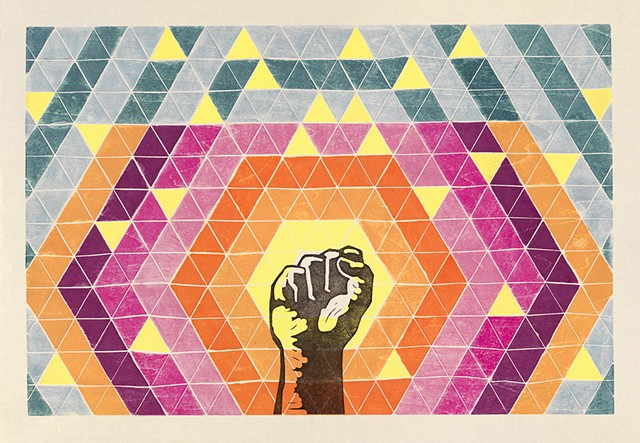 White line woodcut, raised fist, Gay Liberation Front, gay history