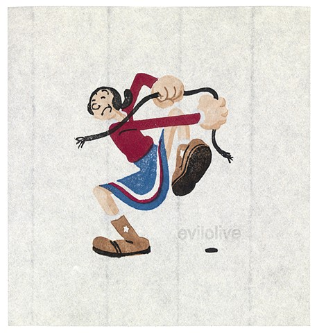 Woodblock print, image of olive oyl, by artist illustrator Annie Bissett depicting a secret code word of the NSA called evilolive