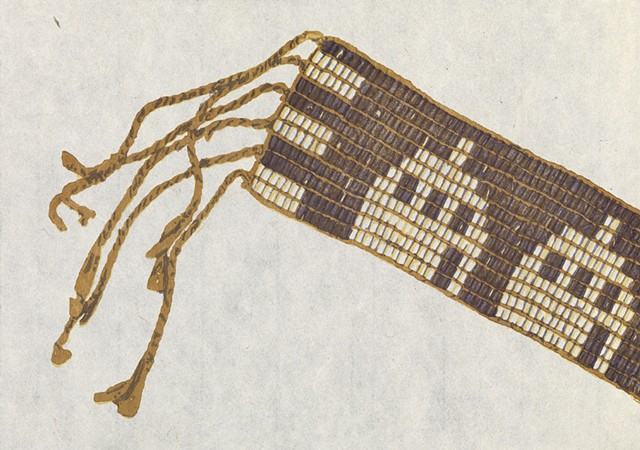 Moku hanga woodblock print of wampum belt by Annie Bissett