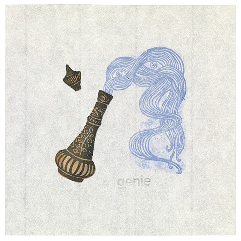 Woodblock print of genie coming out of a bottle by artist illustrator Annie Bissett depicting a secret code word of the NSA called genie
