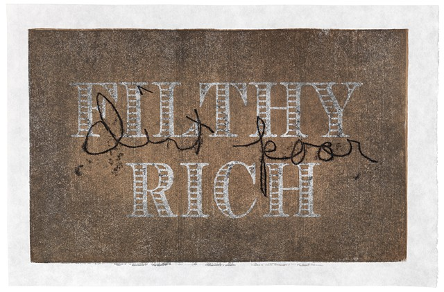 Moku hanga woodblock print by Annie Bissett about money cliches filthy rich and dirt poor