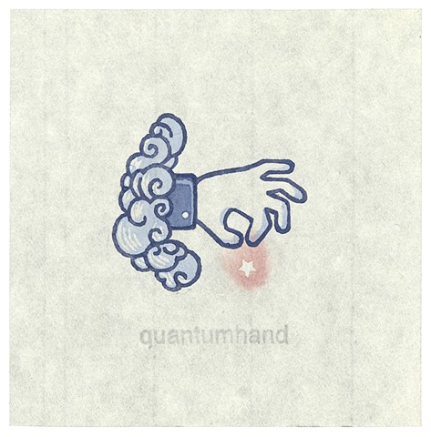 "Woodblock print by Annie Bissett depicting the Facebook 'Like"" hand coming out of a cloud like a tarot card, to depict the NSA code word quantumhand"