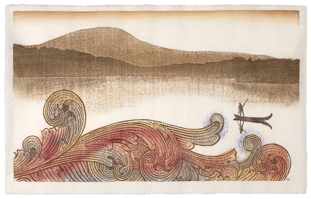 Moku hanga woodblock print of natural scene, boat and wave from a dollar bill by Annie Bissett. moku hanga