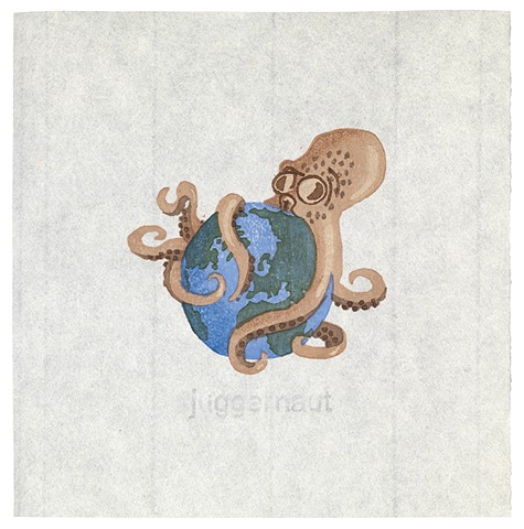 Woodblock print by Annie Bissett depicting an octopus and planet earth illustrating the NSA codeword juggernaut;