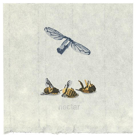 Woodblock print by Annie Bissett depicting dead honey bees and a robobee illustrating the NSA code word nectar