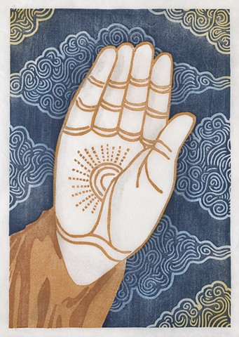 Woodblock print of Buddha's hand by Annie Bissett