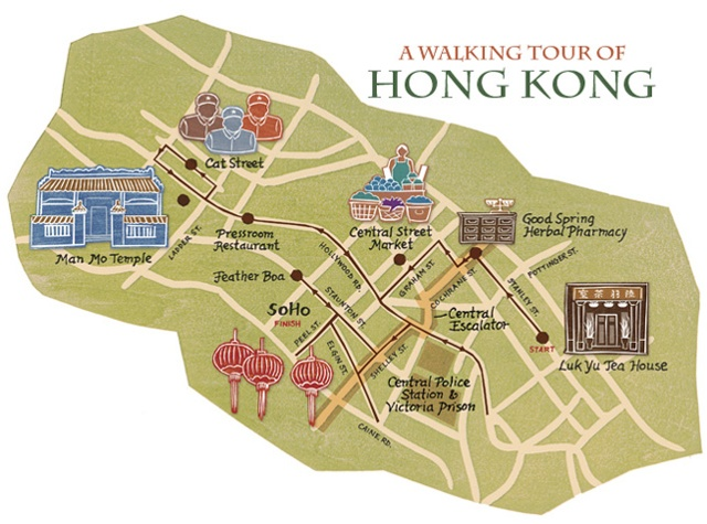 illustrated walking map of Hong Kong by Annie Bissett