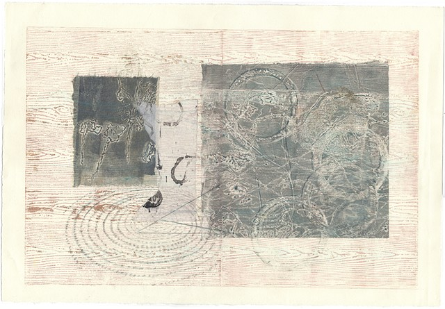 monotype, monoprint, mulit-media, printmaking, collage