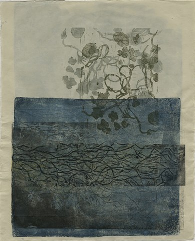 printmaking, monorprint, monotype, collagraph, collage, landscape, organic