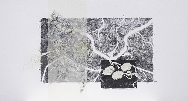 Photolithograph, lithography, monoprint, monotype, mixed media, printmaking, collage