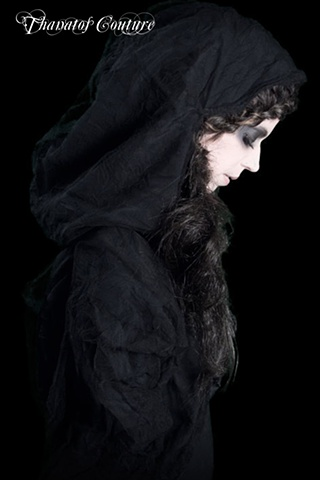 Tule hooded jacket from Contemporary Victorian Mourning line. Model: Flutter