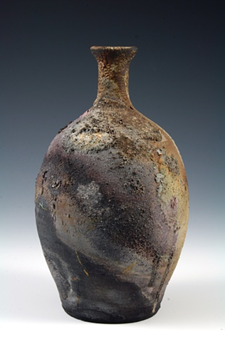 Saggar-Fired Bottle Form by Tom Szmrecsanyi