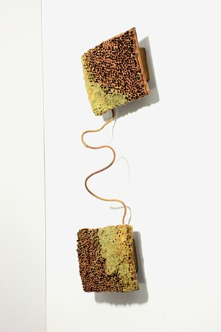 Ceramic Sculpture Paper clay, clay, glaze, copper, porcelain enamel, felt, beeswax by Tom Szmrecsanyi