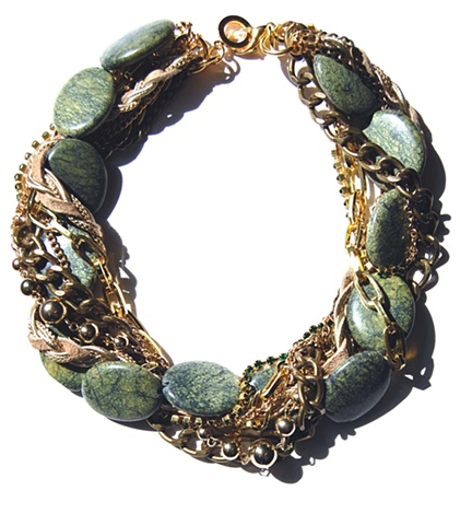Holy Harlot Jewelry Jasper Twist Choker Green Lace Curb Chains Braid Leather Holy Harlot Jewelry Edgy Eclectic Urban