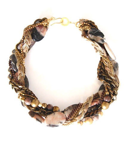 Holy Harlot Jewelry blush mauve jasper twist swirl choker braid leather holy harlot jewelry edgy eclectic urban