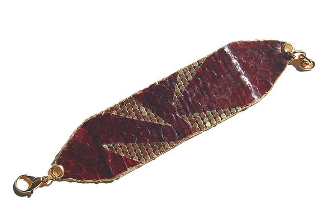 Holy Harlot Jewelry Snake Gold Mesh Cuff Authentic Snakeskin Leather Gold Leaf Holy Harlot Jewelry Handmade