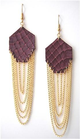 Holy Harlot Jewelry Gem earrings Genuine Snakeskin Leather Gold Leaf Holy Harlot Jewelry Handmade NYC