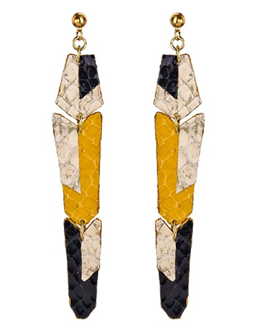 Holy Harlot Jewelry Rex Earrings Saffron Snakeskin Colorblock
