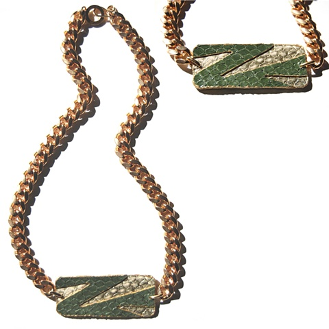 Holy Harlot Jewelry Balenciaga's Inlay Nameplate Necklace Genuine Snakeskin Gold Curb Chain Holy Harlot Jewelry Handmade