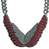 ISIS SNAKE WINGS NECKLACE Mauve Gray Snakeskin