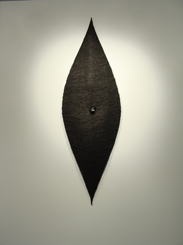 """Omphalos""  2011  Red Oak, Burlap, Black Paint  78""x26""10"""