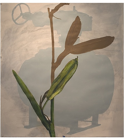 Iris plant from our yard, oil equipment valve, BP oil spill, Acadian, Louisiana, Contemporary art, Nova Scotia, ULL, Louisiana artists, sense of place