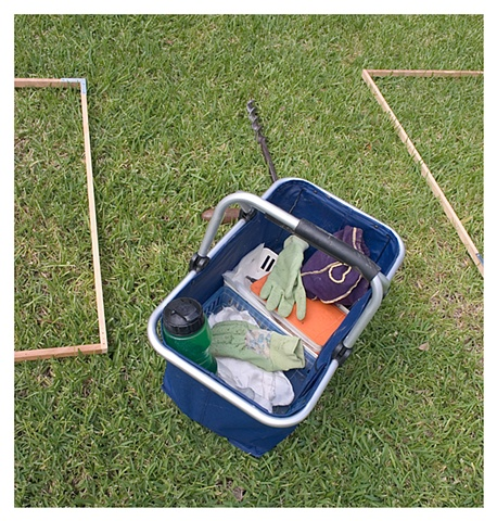 "Tools, frames for gridding, record keeping book, waxpaper bags, 6""x6"" silk for burying, red painted corks, water bottles. for gridding the yard."