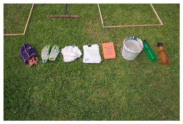 "Tools, frames for gridding, record keeping book, waxpaper bags for storing plant specimens, 6"" x 6"" silk for burying, red painted corks for marking, water bottles and water bucket, gloves, all for gridding the yard."