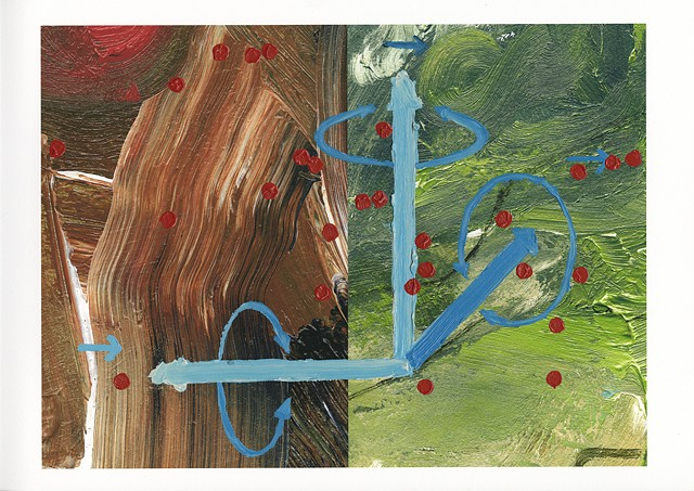Algoritmic art, inkjet print with painting, diagrams, algorithmic beauty plant, Steven Breaux.