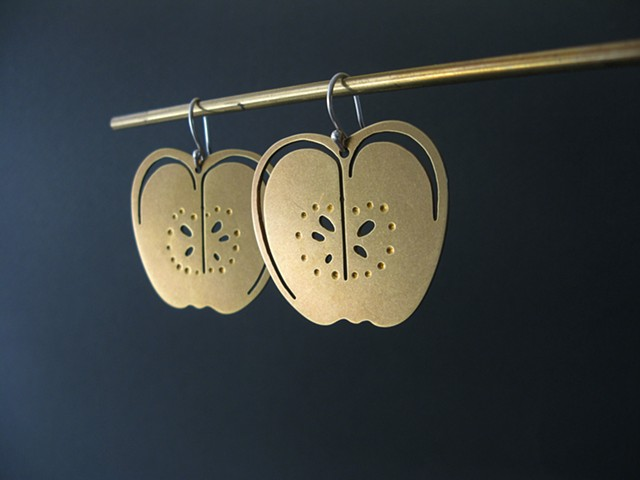 golden apple earrings