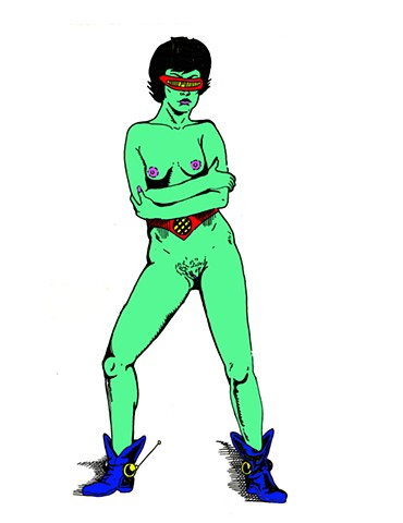 Nude Female alien full frontal