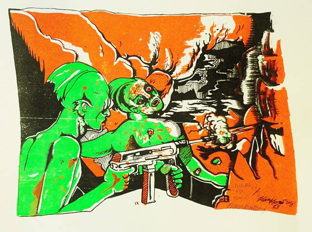 fish men with machine guns at sunset bright screen print