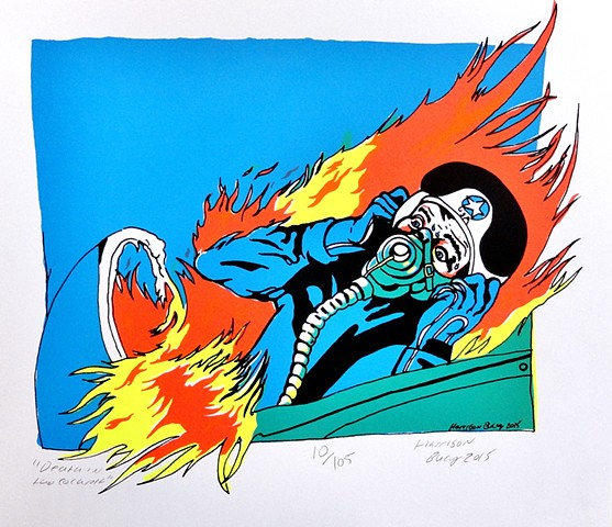 5 Color Screen-print of man burning alive in Cockpit