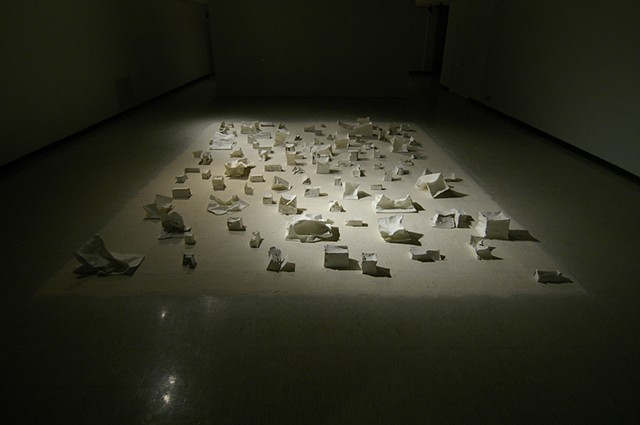 liminal spaces paper, ceramic fiber paper, porcelain slip,sand 25' x 15'