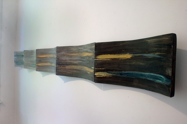 "On the way and back again Earthenware with glaze and gold leaf 10'L x 20""T"