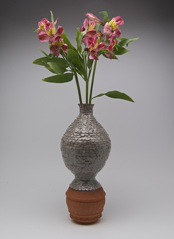 Torn Piece Vase with flowers, blue