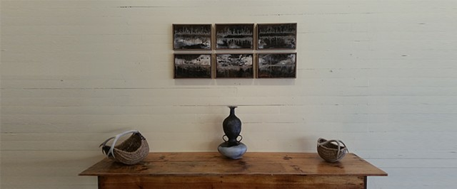 Tiles installed  with Conjoined Geographies vessel  at 222 Gallery, Hurleyville, NY