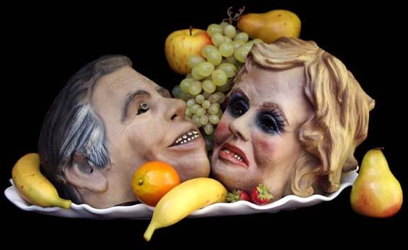 "Jim and Tammy Faye — Heavenbound assemblage 9""x20""x12"""