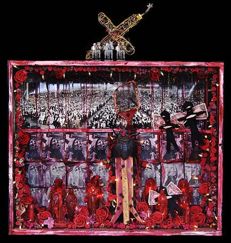 "Onward Christian Soldiers assemblage 26""x34""x6."