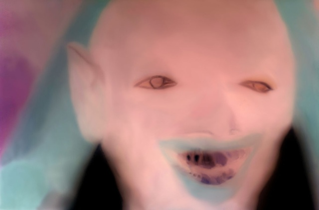 "Homage to Timothy Cummings: Devil from ""Onset of Insanity"" 2011 zone plate photograph archival pigment print 20""x13"""