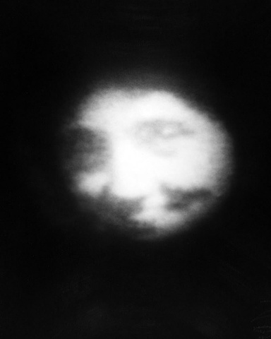 "Grandma Becomes the Moon  (positive on paper) 1976 pinhole photograph 20""x16"""